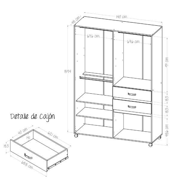 plano de medidas de closet
