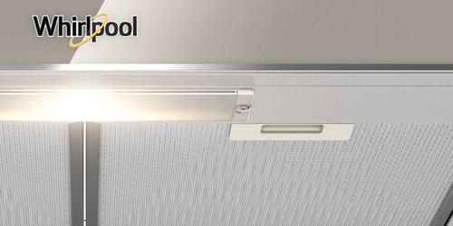 Campana Whirlpool 7501545624629 con excelentes sistemas de filtración con maya lavable altamente resistente en acero inoxidable y doble filtro anti-grasa.