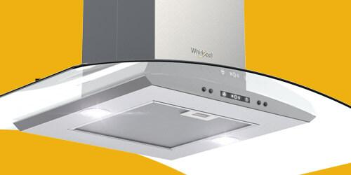 Campana Whirlpool 7501545629648 con excelentes sistemas de filtración con maya lavable altamente resistente en acero inoxidable y doble filtro anti-grasa.