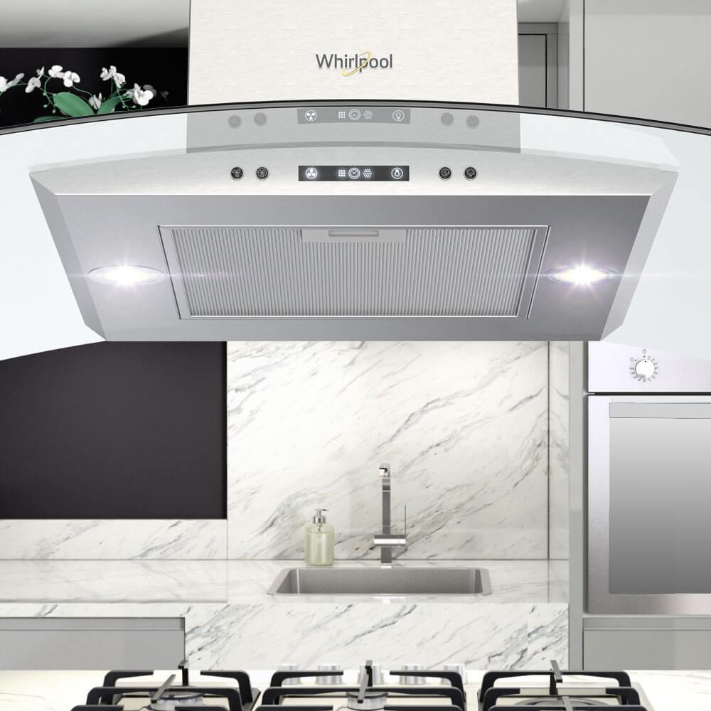 Campana Whirlpool 7501545629648 con materiales resistentes, acero inoxidable, tres velocidades y filtro lavable y doble filtro anti-grasa. Con una lámpara halógena de 28 W.