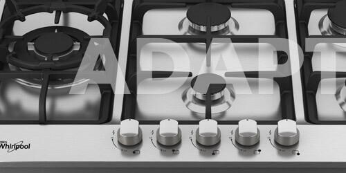 Cubiertas Whirlpool 7501545617409 con capacidad para 5 puestos. Adaptación a gas natural y opción de gas LP.
