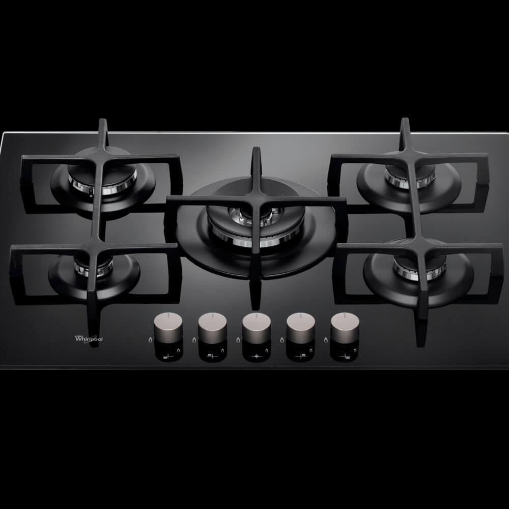 Cubiertas Whirlpool 8003437830808 con capacidad para 5 puestos en vitrocerámica color negro.