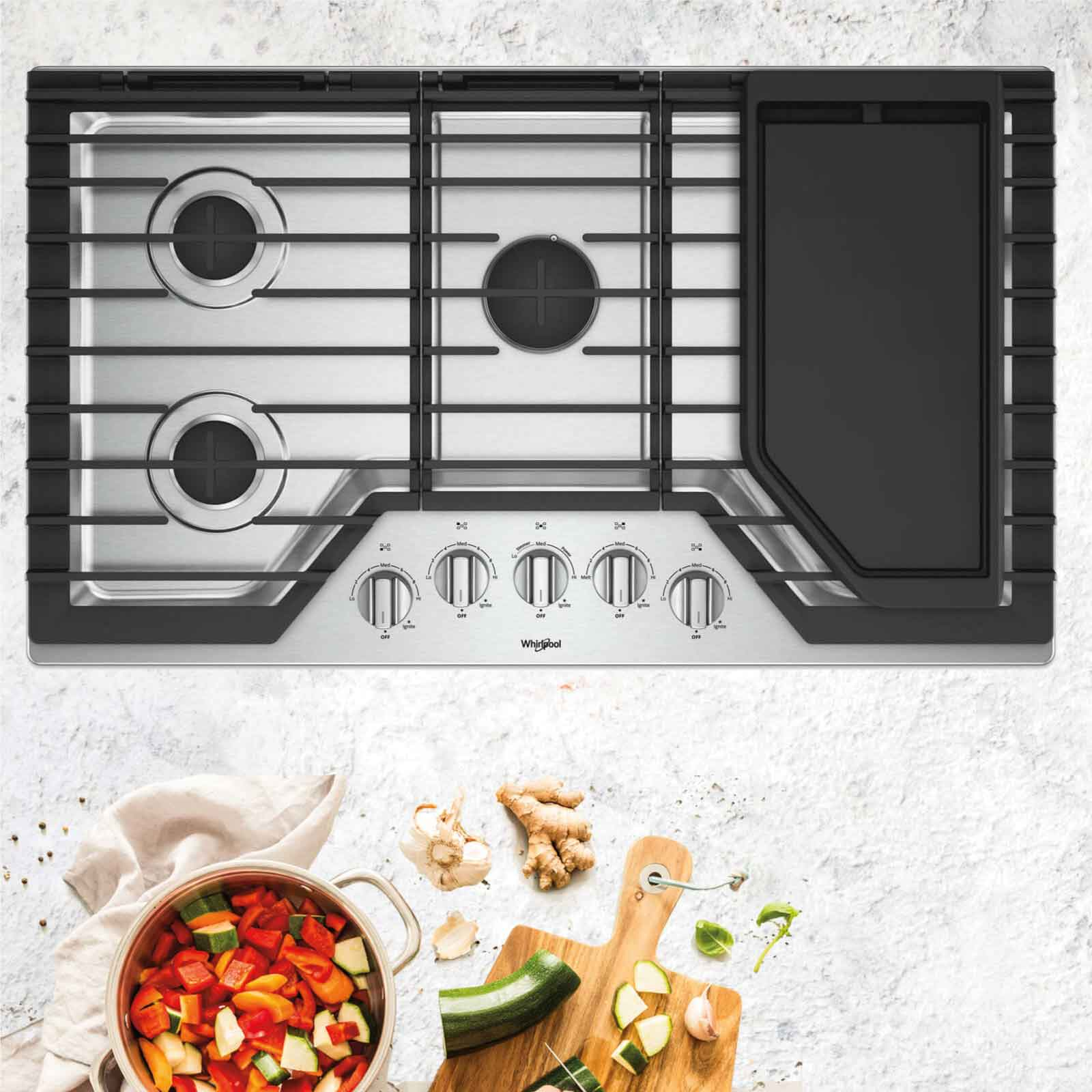 Cubiertas Whirlpool 883049468006 con 5 elementos de cocción o quemadores hecha en acero inoxidable.