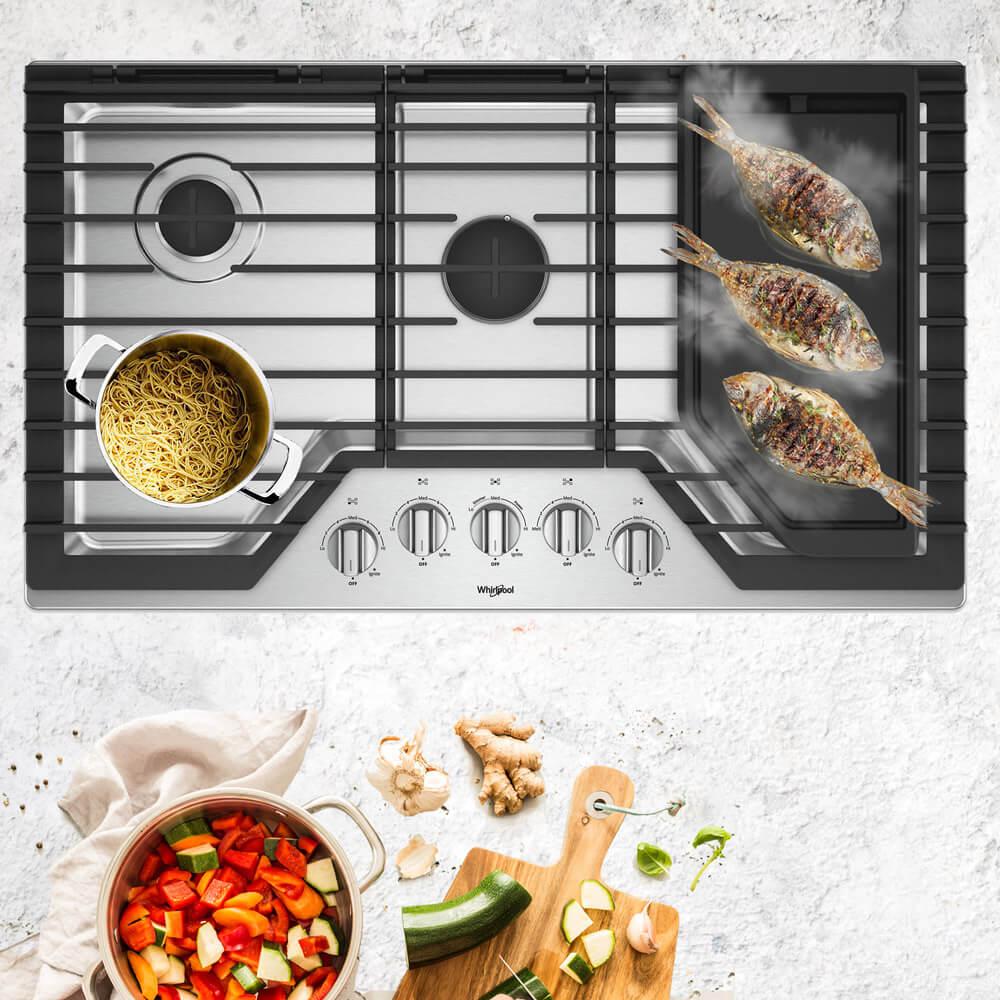 Cubiertas Whirlpool 883049468006 con capacidad para 5 puestos en acero inoxidable. Un quemador central de mayor capacidad y espacio para mejor comodidad al cocinar. Como extra cuenta con una plancha para cocciones más saludables y más eficientes en la distribución de calor.