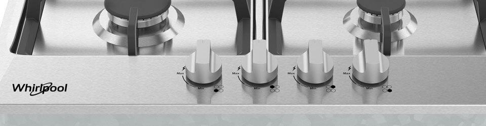 Cubiertas Whirlpool 883049526904 con capacidad para 4 puestos. Perillas de control.