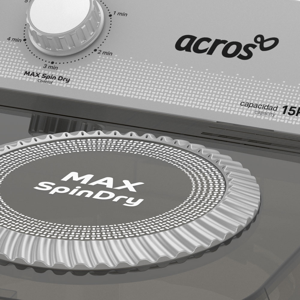 Tina de secado ultra rápida Maxspindry que gira a unas increíbles 1550 RPM. Ropa 50% más seca.