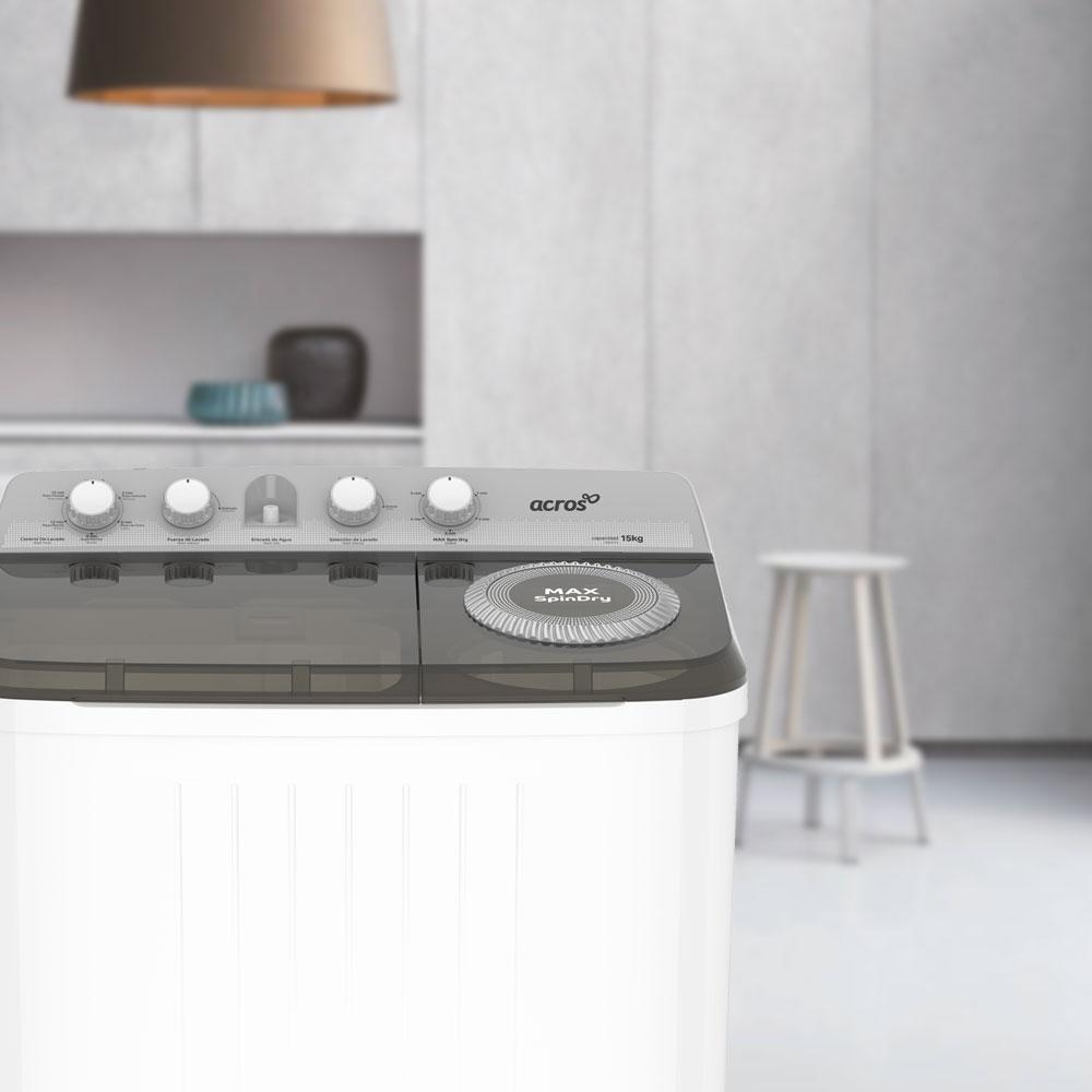 Aspecto que se adapta a tu hogar con la lavadora de dos tinas Acros 7501545637377.