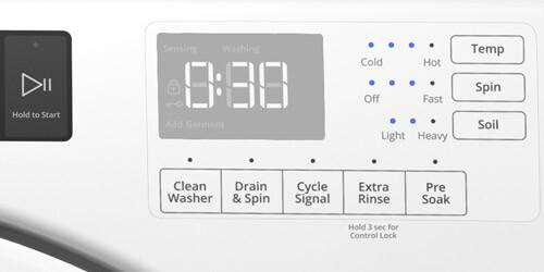 Lavadora carga frontal Slim Whirlpool 883049583426 Un panel muy intuitivo con alarma de fin de ciclo, temperatura del agua y panel digital que muestra el tiempo restante del ciclo de lavado.