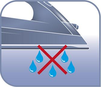 plancha con antigoteo que previene manchas de agua en la ropa