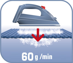 Impulso de vapor de 60g/m para eliminar las arrugas más difíciles