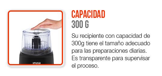 Su vaso transparente de 300g tiene el tamaño adecuado para las preparaciones diarias.