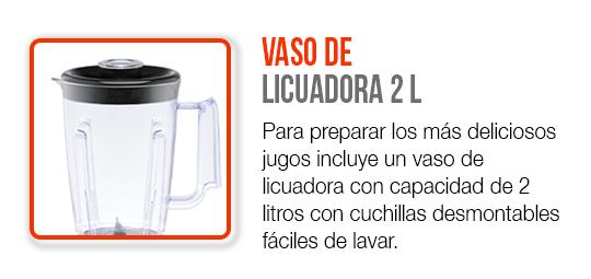 Incluye un vaso de licuadora de 2 litros con cuchillas